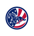 american jockey horse racing usa flag icon vector image vector image
