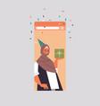 arabic woman in festive hat celebrating online vector image