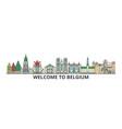 belgium outline skyline belgian flat thin line vector image vector image