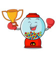boxing winner gumball machine mascot cartoon vector image vector image