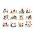 bundle cute funny active elderly couples vector image vector image