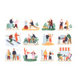 bundle of cute funny active elderly couples vector image