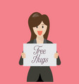 business woman showing free hug sign vector image vector image