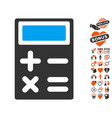 calculator icon with lovely bonus vector image vector image