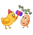 Chicken cracking an egg vector image vector image