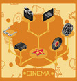 cinema isometric concept icons vector image