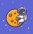 cute astronaut mascot space theme vector image vector image