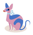 cute pink and blue cartoon cat sphinx with a bow vector image vector image