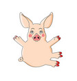 cute pink piggy with hug gesture isolated on white vector image vector image