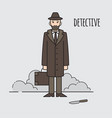 detective occupation character design cartoon vector image vector image