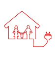 electrical plug symbol with family house vector image