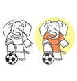 elephant football player with ball vector image vector image