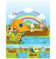 farm animals playing in the park vector image vector image