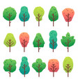 flat trees set garden tree trunk bush and pine vector image