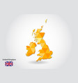 geometric polygonal style map of united kingdom vector image
