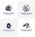 head horse set symbol modern logo vector image