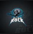 human skull with an inscription hard rock image vector image