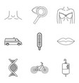 humane icons set outline style vector image vector image