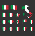 italy flag icons set italian flag symbol vector image