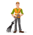 Janitor with a broom vector image vector image