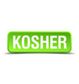 kosher green 3d realistic square isolated button vector image vector image