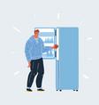 man with open refrigarator vector image vector image
