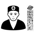 Medic Flat Icon With Bonus vector image vector image