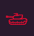 military tank icon linear style vector image vector image