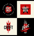 modern craft beer drink isolated logo sign vector image vector image
