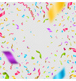 multicolored confetti on a checkered background vector image vector image