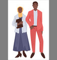 muslim couple man and woman in modest clothes vector image vector image