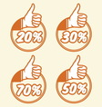popust thumbs up3 vector image vector image