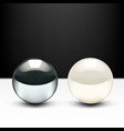 realistic 3d chrome ball and shiny pearl isolated vector image vector image