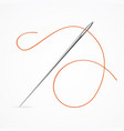 realistic detailed 3d needle and red thread vector image vector image