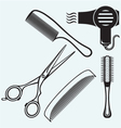 Scissors and Comb for hair vector image vector image