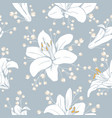 seamless pattern with flowers lilium floral vector image vector image