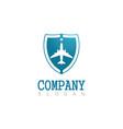 shield plane company logo vector image