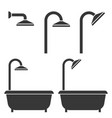 shower and bath tub silhouette icon for hotel vector image