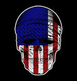 skull bandana with usa flag hand drawing vector image