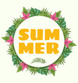 Summer banner with tropical plants and flowers