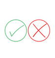 thin line check mark icons green tick and red vector image