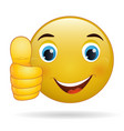 thumb up emoticon yellow cartoon sign facial vector image