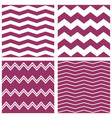 tile pattern set with white and violet zig zag vector image