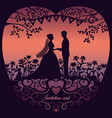 wedding invitation card with silhouette bride and vector image vector image
