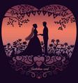 wedding invitation card with silhouette bride vector image vector image