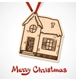 Winter cute house paper label on ribbon vector image vector image