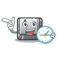 with clock button a in cartoon shape vector image vector image