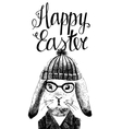 Easter card with bunny hipster vector image