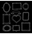 Set of chalk painted doodle frames on a black vector image
