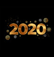 2020 happy new year card in black and gold style vector image